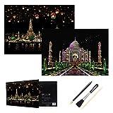 H HOMEWINS 2er Kratzbilder 405 x 285 MM Weltberühmte Sehenswürdigkeiten Wandbild DIY Kunst Zeichnung City Night View Schwarz Beschichtet Bunte Kratzpapier mit Werkzeug Set (Chiang Mai + Taj Mahal)