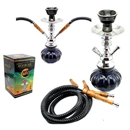 HIBRON® Cachimba shisha hookha pequeña 25cm 2 mangueras, kit de iniciación completa premium negro...