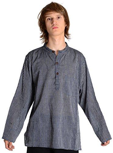 Fischerhemd blau-weiß gestreift Baumwoll-Hemden Kurta Hemd L (Gestreiften Kurta)