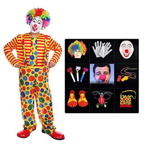 LaoZan Halloween Zirkus Clown Kostüm Anzug Jumpsuit Top Umhang Karneval Cosplay Verkleidung Maskerade Faschingskostüme Performance Outfit (Stil15(12Pcs), Asia - Mardi Gras Clown Kostüm