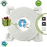 Paraspigoli Bambini EYEWOLF BABY Kit Sicurezza Bambini Casa 7 Metri Fascia Paracolpi con 8 Paraspigoli Angolari in Gomma 2 Blocca Cassetti Per Bambini Fermaporta Nuova Generazione Certificato Bianco