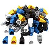 uxcell 100 Pcs Soft Plastic Ethernet RJ45 Cable Connector Boots Cover