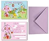 Lasse und Lucie Einladungskarten Set für Kindergeburtstag Fee / Feen-Party / 8 Karten Plus 8 farbige Umschläge / Format DIN A6