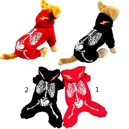 Schwarzer Drache Hunde Kostüm - B Blesiya Luminous Drachen Lightening Jumpsuit Haustier Hund Welpen Kleidung Kostüm S Schwarz