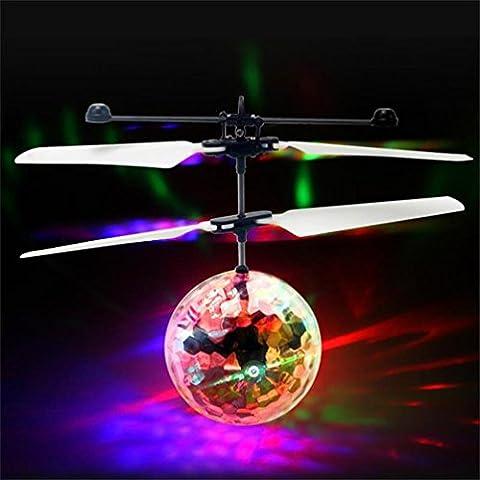 Xshuai 16 * 5.5 * 11 (cm) LED Infrarot-Beleuchtung Sensor Flash Flying Ball Infrarot Induktion Bunte LED Disco RC Hubschrauber Kinder Spielzeug (Multi Type A / B) (Erweiterte Sicherheitssystem)