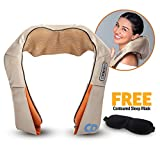 Shiatsu 3D Shoulder Neck Back Massager Deep Tissue Kneading with Massage Nodes, Heat and Timer Function. Pain Relief. Easily Transportable, Can be Use in Home, Office or Car. CONTOURED SLEEP EYE MASK INCLUDED