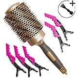 Cepillo profesional de pelo de jabalí redondo de 53 mm para uso con secador. Con cilindro de cerámica de calentamiento.