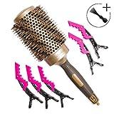 Brosse à cheveux professionnelle ronde en poils de sanglier de 53 mm pour brushing. Cylindre céramique pour un chauffage uniforme en Nano-ionique. Comprend 5 pinces et outil de nettoyage.