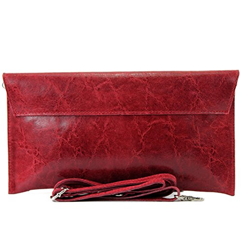 modamoda de - ital. Ledertasche Clutch Unterarmtasche Abendtasche Damentasche Handgelenktasche Glattleder T106G Dunkelrot