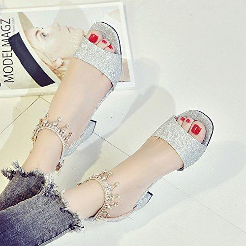 XY&GKSandales d'été Chaussures High-Heeled avec une boucle avec Hairtail Zichao Chaussures bouche grossière 39 Silver