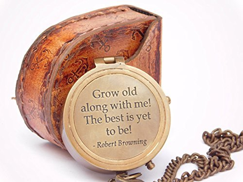 Grow Old with Me Gravur Messing Kompass auf Kette mit Leder Fall