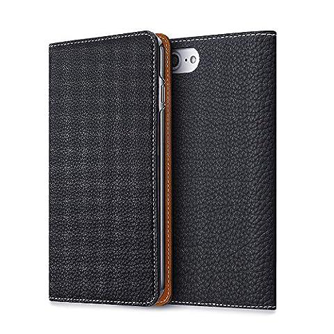 BONAVENTURA iPhone 7/8 Plus Leather Wallet Case (Prestigious European Full-Grain Leather) with Card Slots | Luxury Leather Folio iPhone Cover Case [iPhone 7/8 Plus, NAVY &