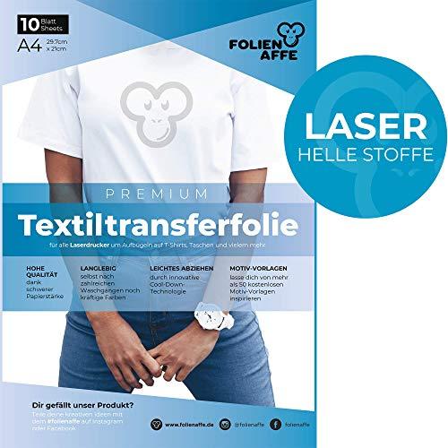 Laser Premium A4 T-Shirt Transferfolie für HELLE Textilien/Stoffe zum Aufbügeln - inkl. 50+ GRATIS Motiv-Vorlagen - Transferpapier geeignet für alle Laserdrucker