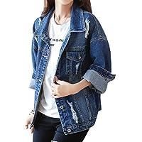 Yasong Women Girls Loose Fit Long Sleeve Vintage Denim Light Wash Faded Ripped Boyfriend Jean Jacket
