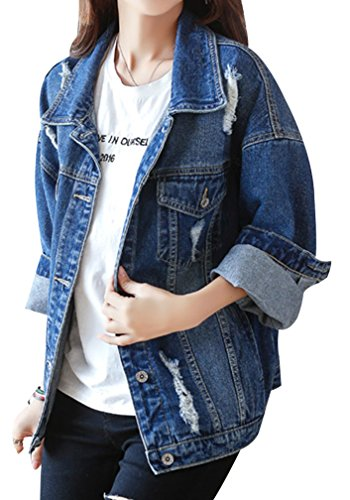 Yasong Women Girls Loose Fit Long Sleeve Vintage Denim Light Wash Faded Ripped Boyfriend Jean Jacket