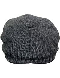 Mens Tweed Newsboy Cap Peaky Blinders Baker Boy Flat Check Grandad Hat