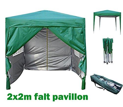 MCC® 2x2m Pavillon, Gartenpavillon, Faltpavillon, Festzelt, Partyzelt, Komplettset, Gruen
