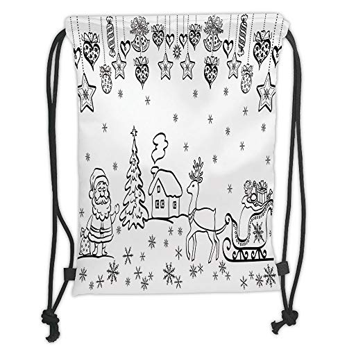 ck Backpacks Bags,Christmas Decorations,Tree Ornaments Santa Sleigh Rudolph Reindeer Toys Jingle Bells Image,Black White Soft Satin,5 Liter Capacity,Adjustable String Closu ()