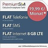 PremiumSIM LTE XL Allnet Flat [SIM, Micro-SIM und Nano-SIM] 24 Monate Laufzeit (FLAT Internet 8 GB LTE mit max. 50 MBit/s mit deaktivierbarer Datenautomatik, FLAT Telefonie, FLAT SMS und FLAT EU-Ausland, 19,99 Euro/Monat)