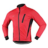 Arsuxeo 16H Hombres Invierno Térmico Vellón Ciclismo Chaqueta MTB Bicicleta Abrigo Cycling Thermal Fleece Jacket (CN: 2XL / US: XL, Rojo)