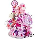 MomsStory - Windeltorte Mädchen   Babygeschenk   Geschenk zur Geburt, Taufe, Babyshower   2 Stöckig (Rosa/Pink)