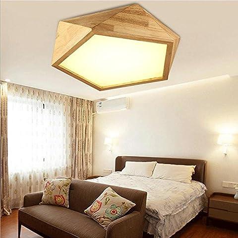 FJ-E27 18W LED kreative Persönlichkeit aus massivem Holz Decke Lampe Wohnzimmer Schlafzimmer Balkon Zimmer Yakelimu Lampe 42 cm * 13cm220V-240V ,
