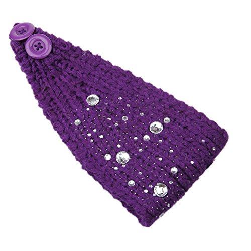 Mode handgestrickte thermische Diamant Wolle Damen Haargummis , purple -