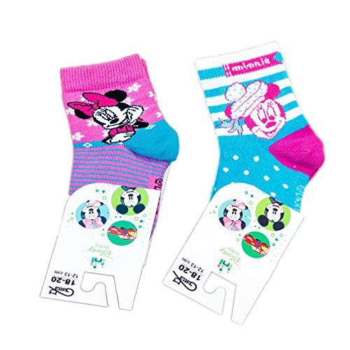 Babysocken für Mädchen Disney pink türkis 2-er Set Gr. 18 / 20 Mickey Minnie