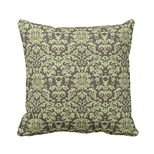 Roue Sage Green and Brown Damask Polyester Pillow Cover 18 x 18 Inches - Sage Green Coffee