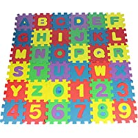 Brussels08 36 Pcs Kids Alphanumeric Foam Puzzle Blocks Alphabet Letters & Numbers Mini Puzzle Pieces Colorful Educational Learning Toy for Toddlers