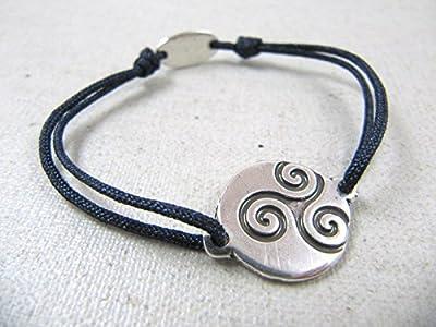 """Bracelet cordon tréssé """"Triskell breton"""" 16mm finition argent 925"""