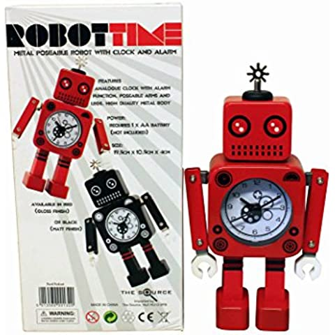 Red Robot Clock RobotTime Moveable Bedside Alarm Analogue Clock Flashing Eyes and Sound