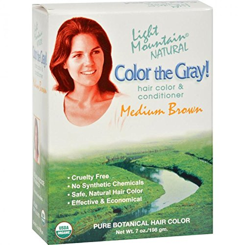 Colour the Grey! Natural Hair Colour & Conditioner, Medium Brown, 7 oz (197g) by Light Mountain (English Manual)