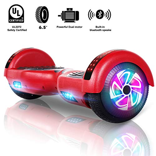 Sumwell 6.5' Hoverboard Bluetooth Speaker und led, Self Balancing Electric Scooter für Kinder, Space Scooter, Dual 300W Motor, Free Carry Bag, UL2272 Certified (Rot)