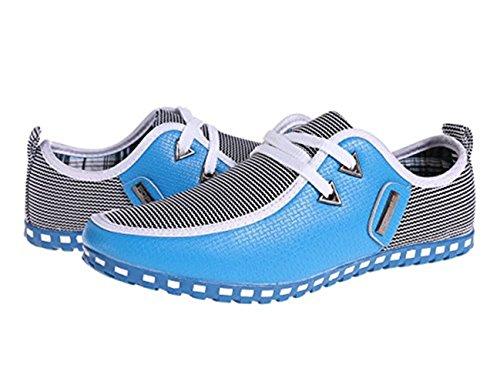 CUSTOME Herren Draussen beiläufig Schnüren Leder Schuhe Hellblau