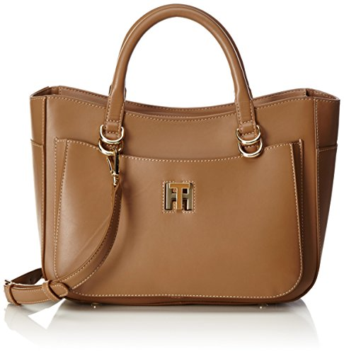 Tommy Hilfiger Th Twist Leather Tote, Cartables Marron (Tan)
