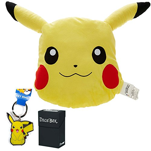 Various Pokemon Pillow Pikachu Plush Large Head Shaped - 16 Stuffed Animal With Bonus Keychain Toy And Ultra Pro Deck Box Card Holder Bundle