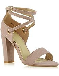 ESSEX GLAM Sandalo Donna Strappy Tacco a Blocco Medio-Alto Open Toe Sera  Festa c9dcc317bf3
