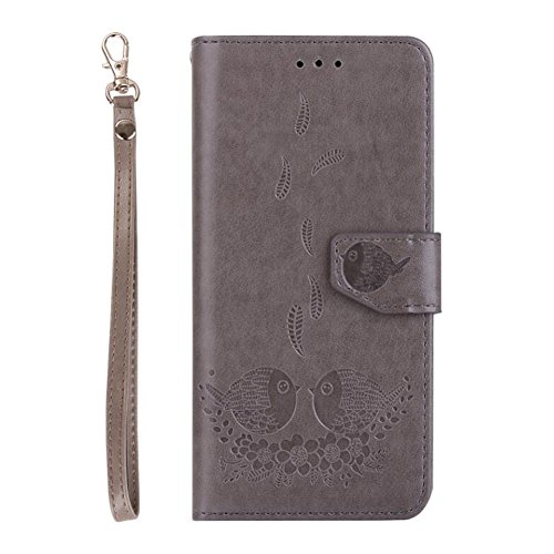 Samsung Galaxy S8 Wallet Case, Magnetic Detachable Bird pattern Premium PU Leather Flip Cover 2in1 Removable SOUNDMAE Protective Folio Wallet With Card Slot Cash Pocket and Hand Strap [Purple] Z-Gray