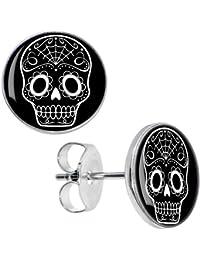 Body Candy Stainless Steel Black White Sugar Skull Art Stud Earrings