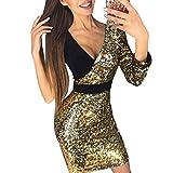 feiXIANG Mode Damen Mädchen Kleid tiefe V-Neck Splice Mini Dress Clubwear Slim Pailletten Nähte Hüfte Kleid Tanzkleidung Rock (M, Gold)