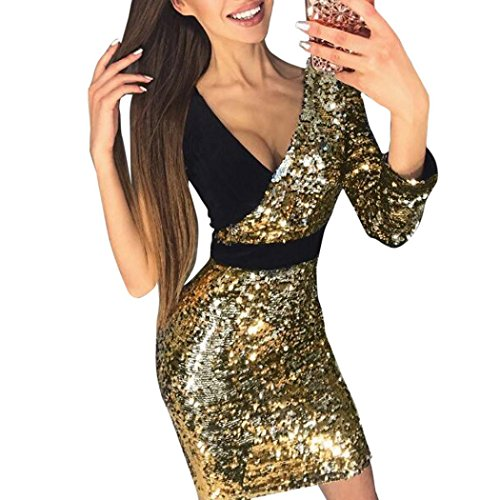 feiXIANG Mode Damen Mädchen Kleid tiefe V-Neck Splice Mini Dress Clubwear Slim Pailletten Nähte Hüfte Kleid Tanzkleidung Rock (M, Gold) (Mini-rock Plus)