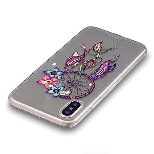 Slynmax Colorato Stampato Cover per iPhone X Custodia Silicone Caso Molle di Morbida Sottile TPU Gel Transparent Bumper Case Protettiva Caso Chiaro Copertura Slim Thin Skin Shell Protezione per iPhone Modello #1
