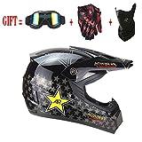 Casque de Moto-Cross avec Lunettes de Protection Gants Masque, Moto DH Enduro VTT Descente Dirt Bikes Quad Casque de Moto Cross pour Homme