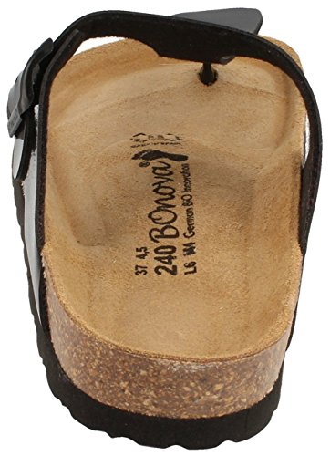 BOnova® Ibiza Zehentrenner in 8 Farben für Damen, Sandalen - Pantoletten mit Korkfußbett - HANDMADE IN SPAIN black lack