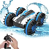 Amyove Quatre-roues motrices télécommande amphibie Stunt Car 2.4g étanche double face conduite réservoir voiture jouet bleu