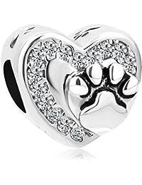 Korliya Abalorio para pulsera con diseño de huella de perro o gato