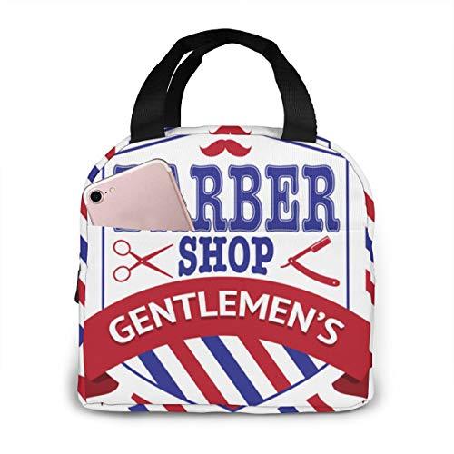 Vintage Emblem der Barber Shop Lunchpaket isoliert Lunchbox Wiederverwendbare Lunch Tote Kühler Organizer Tasche Lunchpakete für Frauen, Männer und Kinder Erwachsene -