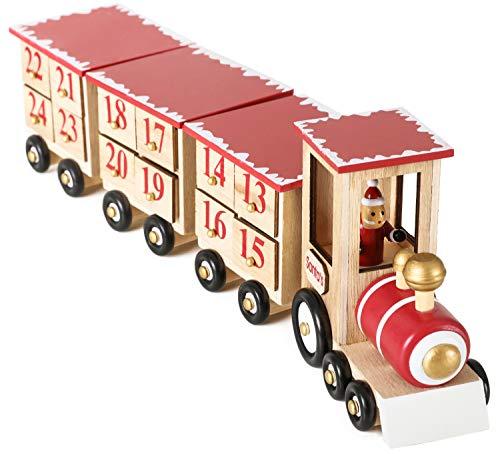 Brubaker - Calendrier de l'Avent - 24 Tiroirs à remplir - Train/Locomotive en Bois - Décoration de Noël - 47,5 x 9,5 x 14 cm - Bois Naturel/Rouge