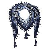 Nuofengkudu Bufandas Mujer Fulares con Borla Floral Étnico Étnico Plaza Grandes Estolas Primavera Mantón Manta 110*110CM Azul